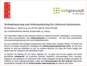 Screenshot des PDF Flyers Worlshop SEO & Selbstmarketing