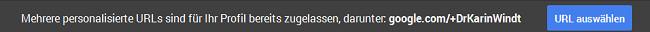 G+ Nutzernamen ändern - Texthinweis Screenshot
