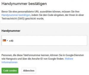 Screenshot: Personalisierte URL bei G+ verifizieren
