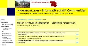 """Workshopseite """"Frauen in virtuellen Netzwerken """" - GI Tagung 2011"""