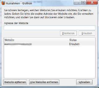 Seiten mit blockierten Grafiken - Screenshot Firefox