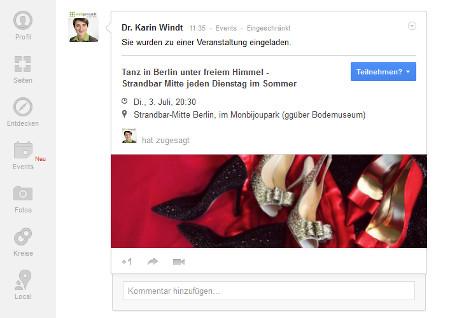 Google+ Event - neue Funktion bei G+