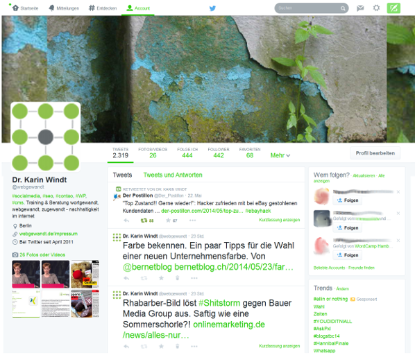 Foto Screenshot Twitter Account webgewandt