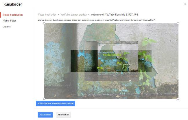 Screenshot Kanalbild Upload webgewandt auf YouTube - Ausschnitt wählen
