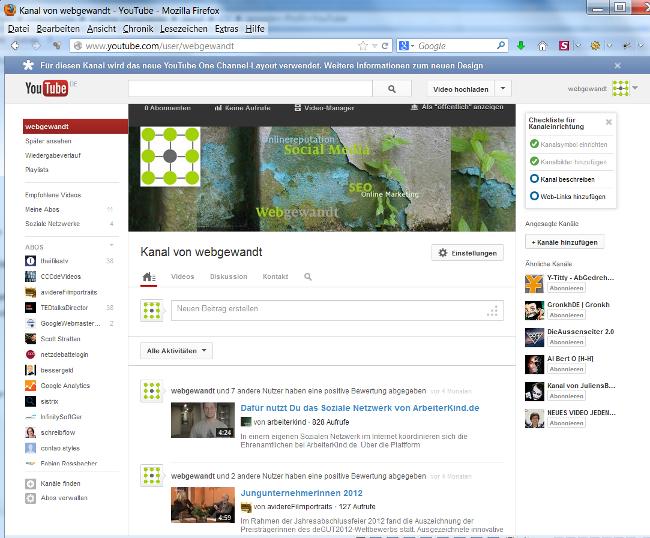 Screenshot der neuen Ansicht webgewandt bei YouTube