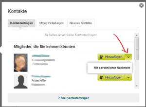 Screenshot XIING Kontaktanfragen - mit Nachricht