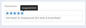 Feld um Bewertungen für eine FB-Seite einzutragen