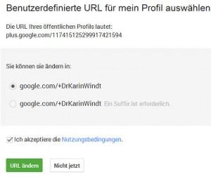 Screenshot Personalisierte URL bei G+