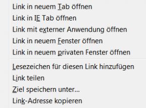 Screenshot Kontextmenü Firefox