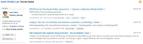 Diigo Liste Social Media Screenshot