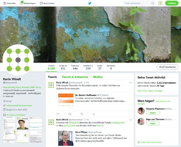 Screeenshot der Twitter Profilseite von webgewandt