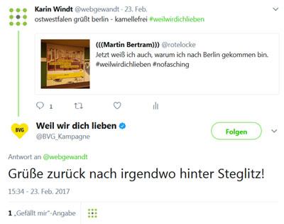 Screenshot, wie ein Dialog auf Twitter aussieht